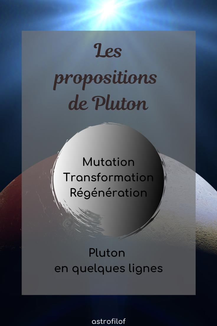 Les propositions de Pluton