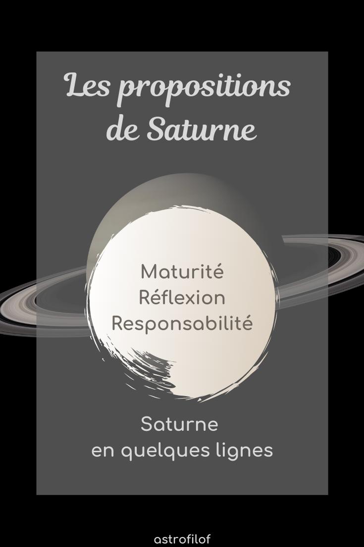 Les propositions de Saturne